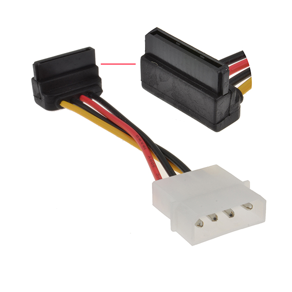 "6"" StarTech 6in 4 Pin Molex to Right Angle SATA Power Cable Adapter"